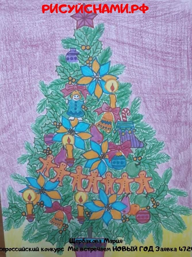 Всероссийский конкурс  Мы встречаем НОВЫЙ ГОД Заявка 4720  творческие конкурсы рисунков для школьников и дошкольников рисуй с нами #тмрисуйснами рисунок и поделка - Щербакова Мария