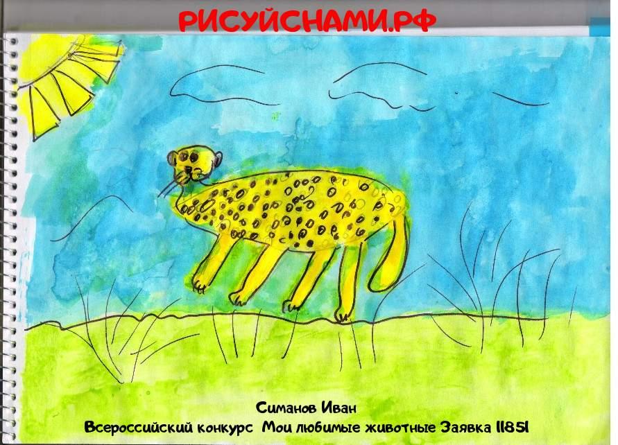 Всероссийский конкурс  Мои любимые животные Заявка 11851  творческие конкурсы рисунков для школьников и дошкольников рисуй с нами #тмрисуйснами рисунок и поделка - Симанов Иван