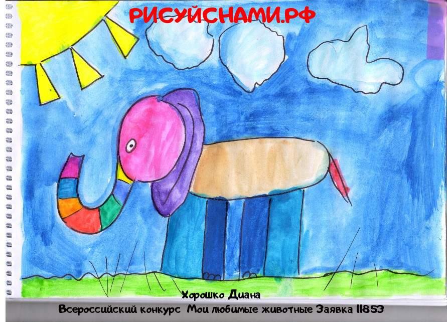 Всероссийский конкурс  Мои любимые животные Заявка 11853  творческие конкурсы рисунков для школьников и дошкольников рисуй с нами #тмрисуйснами рисунок и поделка - Хорошко Диана