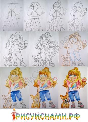 поэтапное рисование девочки  карандаш и кисть