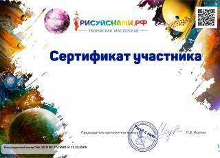 сертификат участника всероссийского творческого конкурса