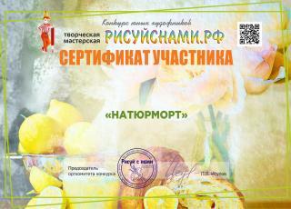 Сертификат участника  всероссийского  конкурса юных художников НАТЮРМОРТ
